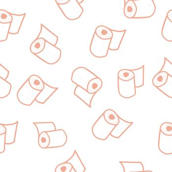 Seamless pattern with toilet paper rolls in doodle style. illustration