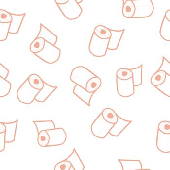 Seamless pattern with toilet paper rolls in doodle style. Vector illustration