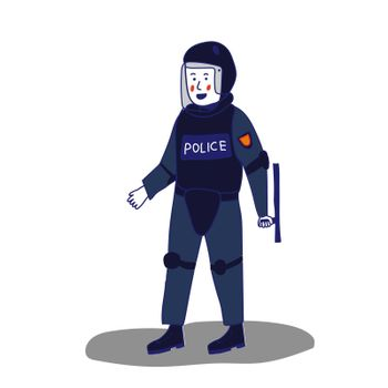 Uniformed police officer standing with a shield and a baton on a white background in cartoon style. Vector illustration with a blue line