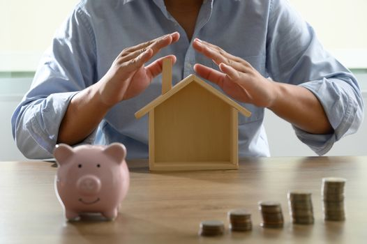 Save money for home cost saving account book or financial statement Home loan / reverse mortgage