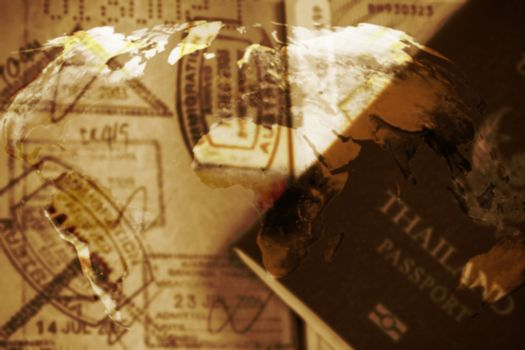 Traveling concept blur background, open passport with stamp, double exposure, Elements of this image furnished by NASA