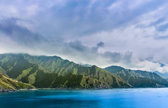 Tianchi alpine lake lies on the north side of the Bogda Shan, Xinjiang