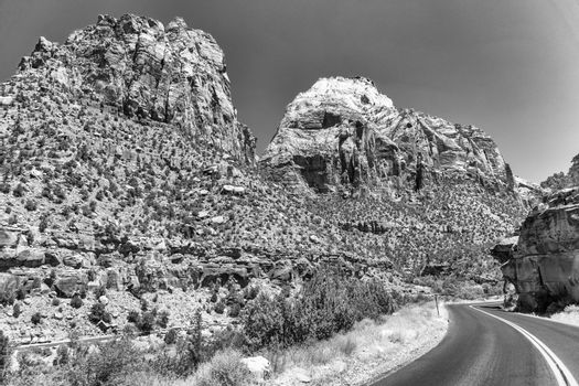 Red countryside road in Zion National Park, Utah