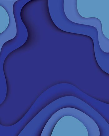 Blue waves paper cut modern abstract background with curved shapes with shadows. 3D abstract paper art style, design layout for business presentations, flyers, posters, prints, decoration, cards, brochure cover. Eps10 Vector illustration