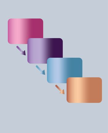 simple infographic four steps flow chart diagram with pastel color metallic gradient cells and arrows
