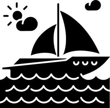 Yachting black glyph icon