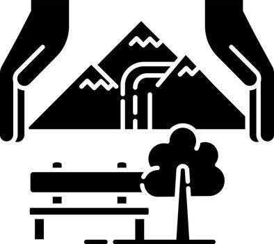 Sustainable tourism black glyph icon