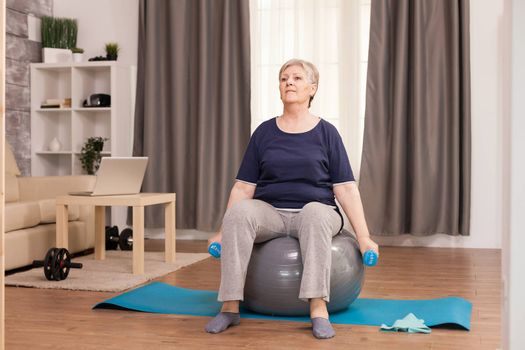 Senior woman doing exercise for arms with dumbbells in apartment. Old person pensioner online internet exercise training at home sport activity with dumbbell, resistance band, swiss ball at elderly retirement age