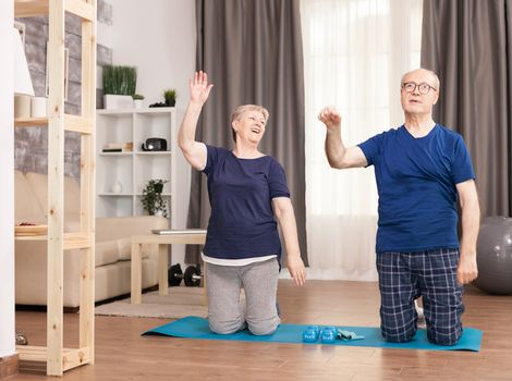 Retired people doing exercises with raised hands. Old person healthy lifestyle exercise at home, workout and training, sport activity at home on yoga mat.