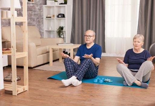 Old couple sitting in lotus position on yoga mat. Old person healthy lifestyle exercise at home, workout and training, sport activity at home.