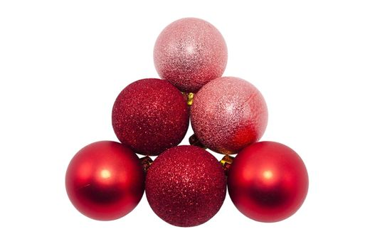 red Christmas balls isolated on a white background