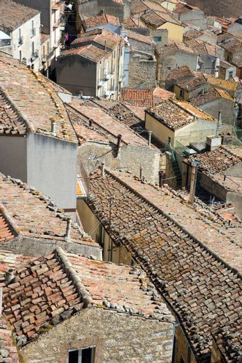 The old roofs of the village Gangi in Sicily, Italy