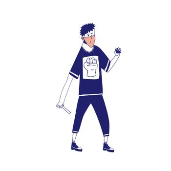 a man throws a stone. The guy is protesting. Riots among young people. A young man wants to throw a piece of asphalt. illustration with blue lines in cartoon style.