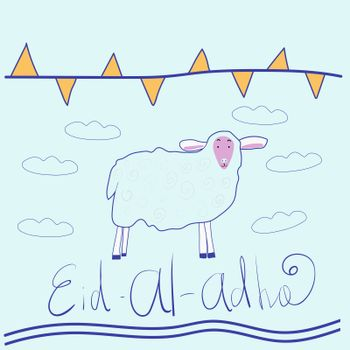 Eid ul adha greeting card with sheep, moon, star and flags, muslim community festival of sacrifice. illustration in style doodle. Islamic holiday