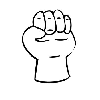 Hand clenched into a fist. Gesture of strength. Illustration in sketch style. Hand drawn illustrations