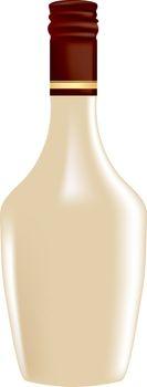 Liquor Pinot Colada in a bottle. Vector illustration