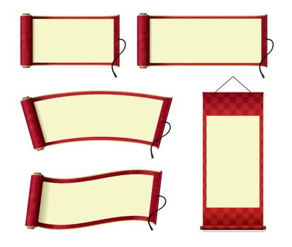Japanese scroll paper / hanging scroll illustration set