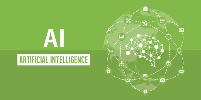 AI ( artificial intelligence ) image banner illustration.