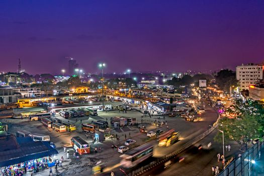 Arial image of Bangalore bus terminus in the evening with nice sky.