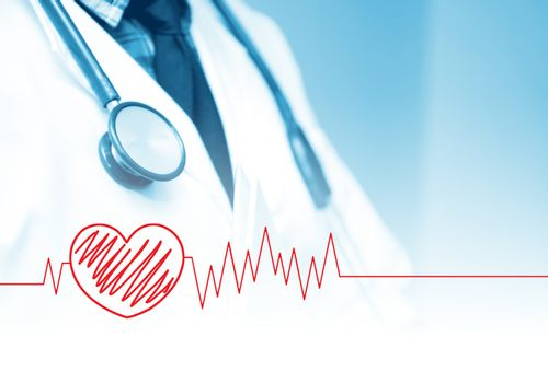 Doctor with stethoscope blue tone with heart graph.