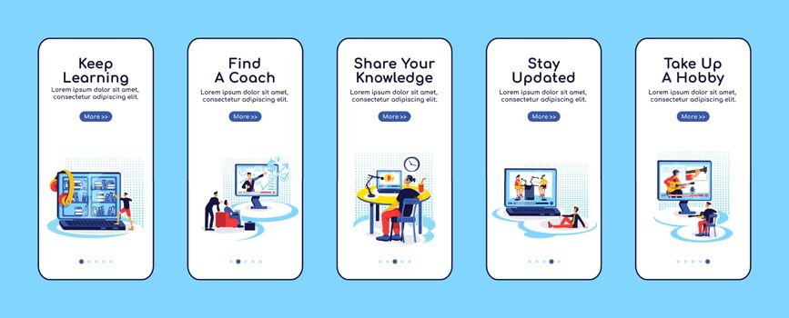 Online education onboarding mobile app screen flat vector template. Stay updated. Share knowledge. Walkthrough website steps with characters. UX, UI, GUI smartphone cartoon interface, case prints set