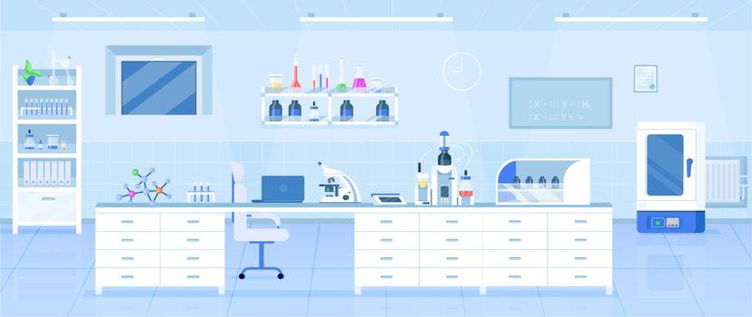 Chemistry laboratory flat color vector illustration