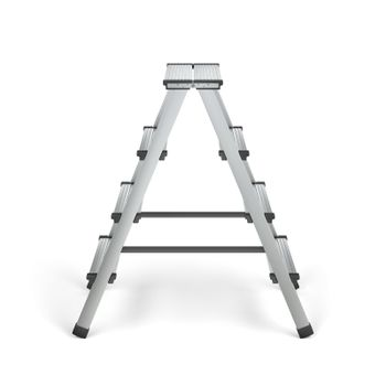 Aluminum stepladder on white background, side view