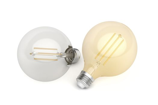 Two decorative LED bulbs with different color temperature on white background