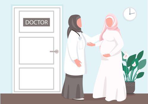 Prenatal consultation flat color vector illustration