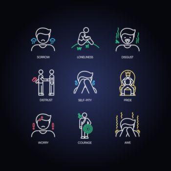 Negative feelings neon light icons set