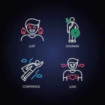 Negative feelings and bad traits neon light icons set