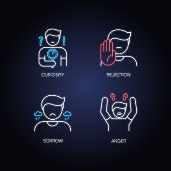 Good feelings and qualities neon light icons set