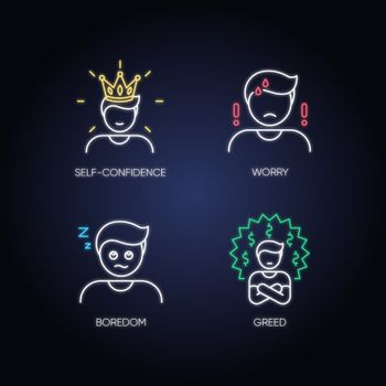 Negative emotions and bad feelings neon light icons set