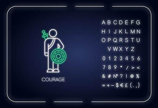 Courage neon light icon