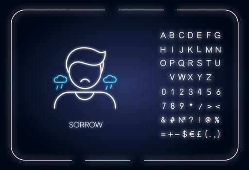 Sorrow neon light icon