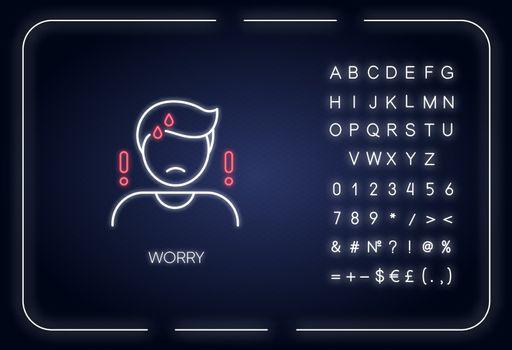 Worry neon light icon