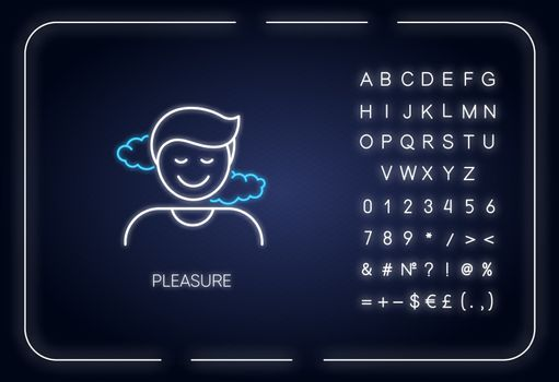 Pleasure neon light icon