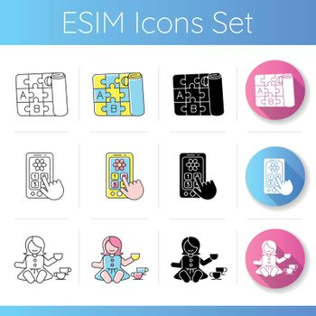 Toddlers toys icons set. Pretend telephone and foldable alphabet playmat. Baby doll with tea set. Motor skills development toys. Linear, black and RGB color styles. Isolated vector illustrations