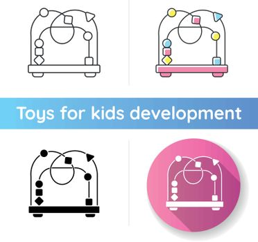 Bead maze toy icon. Roller coaster and labyrinth educational toys for kids. Shape and color recognition game. Sensory skills. Linear black and RGB color styles. Isolated vector illustrations