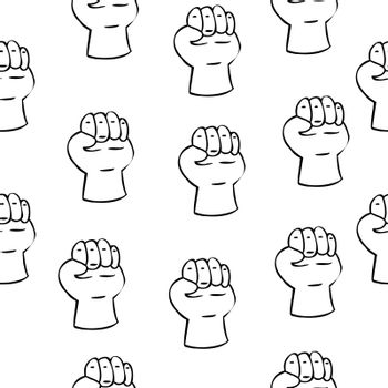 seamless pattern of fists in doodle style. fight. Vector illustration.