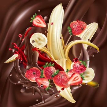 Ripe bananas and strawberries are added to liquid chocolate. Realistic vector illustration.