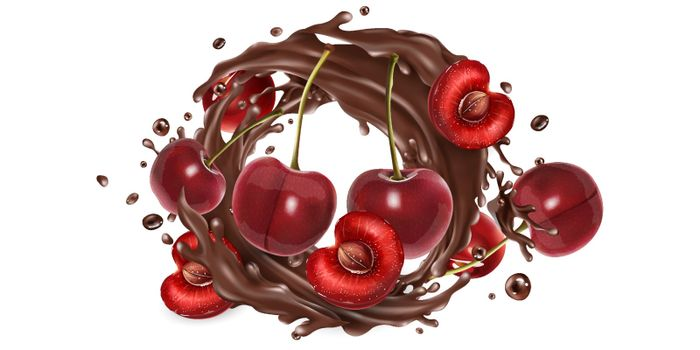 Fresh cherries and a splash of liquid chocolate on a white background. Realistic vector illustration.