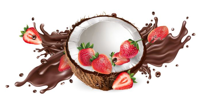 Fresh coconut with strawberries and a splash of liquid chocolate on a white background. Realistic vector illustration.