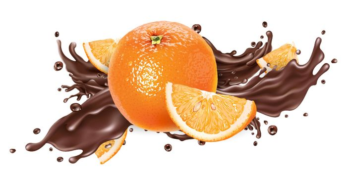 Whole and sliced oranges and a splash of liquid chocolate on a white background. Realistic vector illustration.