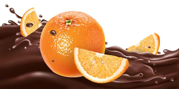 Fresh oranges on a wave of liquid chocolate. Realistic vector illustration.