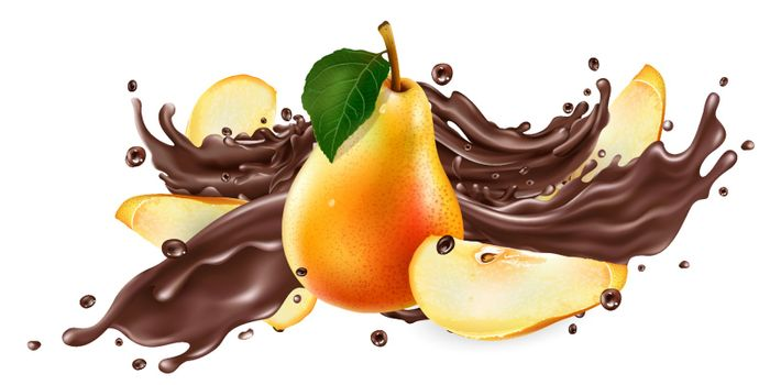 Whole and sliced pears and a splash of liquid chocolate on a white background. Realistic vector illustration.