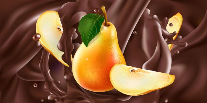 Fresh pears are added to liquid chocolate. Realistic vector illustration.