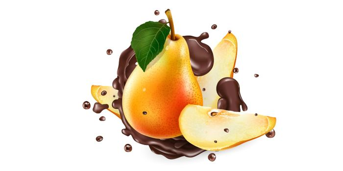 Whole and sliced pears in chocolate splashes on a white background. Realistic vector illustration.