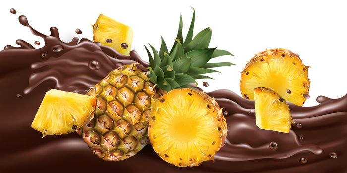 Fresh pineapples on a wave of liquid chocolate. Realistic vector illustration.