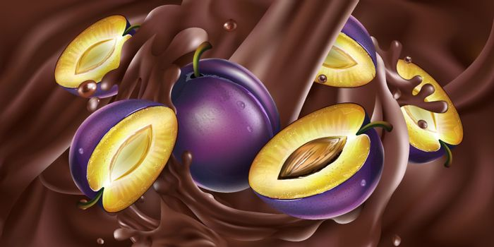 Fresh plums are added to liquid chocolate. Realistic vector illustration.